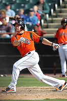 Bowie BaySox first baseman Brandon Waring #14 during a game against the Harrisburg Senators at Prince George's Stadium on April 8, 2012 in Bowie, Maryland.  Harrisburg defeated Bowie 5-2.  (Mike Janes/Four Seam Images)