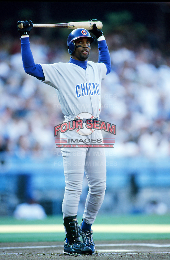 Lance Johnson of the Chicago Cubs bats during a 1999 Major League Baseball season game against the Los Angeles Dodgers in Los Angeles, California. (Larry Goren/Four Seam Images)