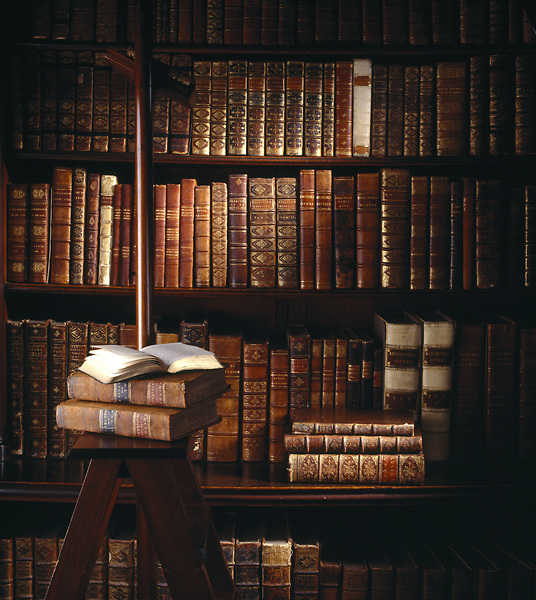 Close up of books in the library at Felbrigg Hall. Made in to the library by William Windham II in 1752-5 to house the books collected on his Grand Tour.