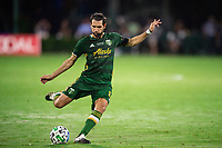 LAKE BUENA VISTA, FL - AUGUST 11: Diego Valeri #8 of the Portland Timbers kicks the ball during a game between Orlando City SC and Portland Timbers at ESPN Wide World of Sports on August 11, 2020 in Lake Buena Vista, Florida.