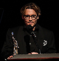 HOLLYWOOD, CA - FEBRUARY 15: Actor Johnny Depp receives the Distinguished Artisan Award at the Annual Make-Up Artists And Hair Stylists Guild Awards held at the Paramount Theatre on February 15, 2014 in Hollywood, California. (Photo by Xavier Collin/Celebrity Monitor)