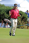 Current leader Bernhard Langer celebrates his putt on the 13th green during day one of The Senior Open Golf Tournament at The Royal Porthcawl Golf Club in South Wales this afternoon.