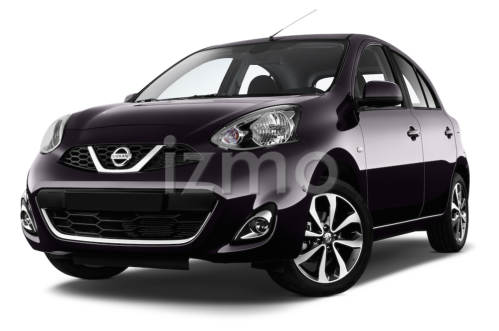 Low aggressive front three quarter view of a 2013 - 2014 Nissan MICRA 5 Door Hatchback 2WD