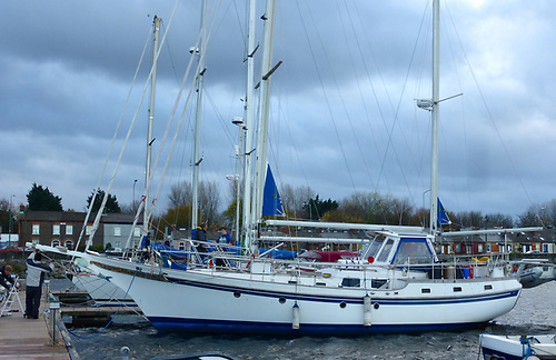 Adrian Spence's Vagabond 47 ketch at Poolbeg
