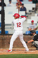 Chris Rivera (12) of the Johnson City Cardinals at bat against the Bristol Pirates at Howard Johnson Field at Cardinal Park on July 6, 2015 in Johnson City, Tennessee.  The Pirates defeated the Cardinals 2-0 in game one of a double-header. (Brian Westerholt/Four Seam Images)