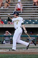 Center fielder Matt Lipka (2) of the Lynchburg Hillcats bats in a game against the Wilmington Blue Rocks on Tuesday, June 25, 2013, at Calvin Falwell Field in Lynchburg, Virginia. Lynchburg won, 3-2. (Tom Priddy/Four Seam Images)