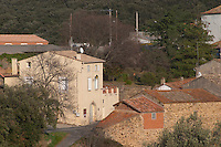 Village and Chateau de La Liquiere Faugeres. Languedoc. The main building. France. Europe.