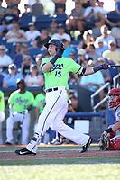 Drew Ellis (15) of the Hillsboro Hops bats during a game against the Spokane Indians at Ron Tonkin Field on July 23, 2017 in Hillsboro, Oregon. Spokane defeated Hillsboro, 5-3. (Larry Goren/Four Seam Images)
