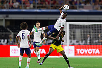 DALLAS, TX - JULY 25: Shaq Moore #20 of the United States wins the header during a game between Jamaica and USMNT at AT&T Stadium on July 25, 2021 in Dallas, Texas.