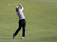 16th July 2021; Royal St Georges Golf Club, Sandwich, Kent, England; The Open Championship Tour Golf, Day Two; Daniel Croft (ENG) hits his second shot to the 17th green