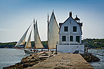 Rockland Breakwater Light guards the entrance to Rockland Harbor on Penobscot Bay, Mid-coast, ME, USA