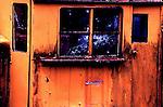 Snoqualmie Valley Steam Railway, Caboose window broken out by vandals.  Classic train photo. Steam train, steam railway.