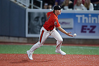 Aberdeen IronBirds shortstop Gunnar Henderson (14) flips the ball to first base during the game against the Hudson Valley Renegades at Leidos Field at Ripken Stadium on July 23, 2021, in Aberdeen, MD. (Brian Westerholt/Four Seam Images)