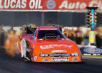 Nov 7, 2013; Pomona, CA, USA; NHRA funny car driver Johnny Gray during qualifying for the Auto Club Finals at Auto Club Raceway at Pomona. Mandatory Credit: Mark J. Rebilas-