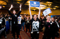 Democrat supporters in Detroit, Michigan express jubilation as they listen to the acceptance speech of President-elect Barack Obama.