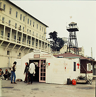 FILE PHOTO : Native occupation of Alcatraz in  1970 (exact date unknown)<br /> <br /> <br /> A revolving group of Native Americans held the island from November 20, 1969, to June 10, 1971, staying in the former penitentiary buildings without running water, phone service and, for part of the time, electricity.<br /> <br /> PHOTO : Alain Renaud<br />  - Agence Quebec Presse<br /> <br /> NOTE : Black and white coverage also available