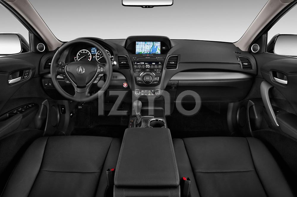 Stock photo of straight dashboard view of 2014-2015 Acura RDX Tech  5 Door SUV