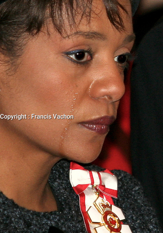 Governor General of Canada Michaelle Jean shows a tear during the funeral of Mark Bourque Thursday December 29, 2006. Bourque, an RCMP constable, was killed in an ambush in Haiti.<br /> <br /> PHOTO :  Francis Vachon - Agence Quebec Presse