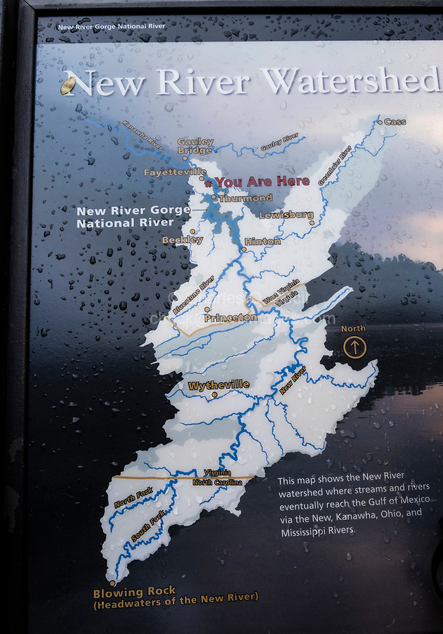 New River Gorge National Park, West Virginia. Explanatory Sign showing New River Watershed.