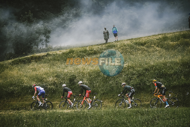 Stefan Küng (SUI) Groupama-FDJ, Simon Geschke (GER) and Anthony Perez (FRA) Cofidis, Patrick Konrad (AUT) Bora-Hansgrohe and Dylan Teuns (BEL) Bahrain Victorious on the Col du Pré during Stage 9 of the 2021 Tour de France, running 150.8km from Cluses to Tignes, France. 4th July 2021.  <br /> Picture: A.S.O./Pauline Ballet | Cyclefile<br /> <br /> All photos usage must carry mandatory copyright credit (© Cyclefile | A.S.O./Pauline Ballet)