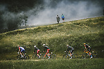Stefan Küng (SUI) Groupama-FDJ, Simon Geschke (GER) and Anthony Perez (FRA) Cofidis, Patrick Konrad (AUT) Bora-Hansgrohe and Dylan Teuns (BEL) Bahrain Victorious on the Col du Pré during Stage 9 of the 2021 Tour de France, running 150.8km from Cluses to Tignes, France. 4th July 2021.  <br /> Picture: A.S.O./Pauline Ballet   Cyclefile<br /> <br /> All photos usage must carry mandatory copyright credit (© Cyclefile   A.S.O./Pauline Ballet)