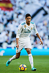 Raphael Varane of Real Madrid in action during the La Liga 2017-18 match between Real Madrid and RC Deportivo La Coruna at Santiago Bernabeu Stadium on January 21 2018 in Madrid, Spain. Photo by Diego Gonzalez / Power Sport Images