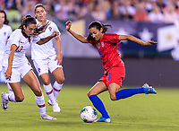 PHILADELPHIA, PA - AUGUST 29: Christen Press #23 of the United States takes a shot during a game between Portugal and the USWNT at Lincoln Financial Field on August 29, 2019 in Philadelphia, PA.