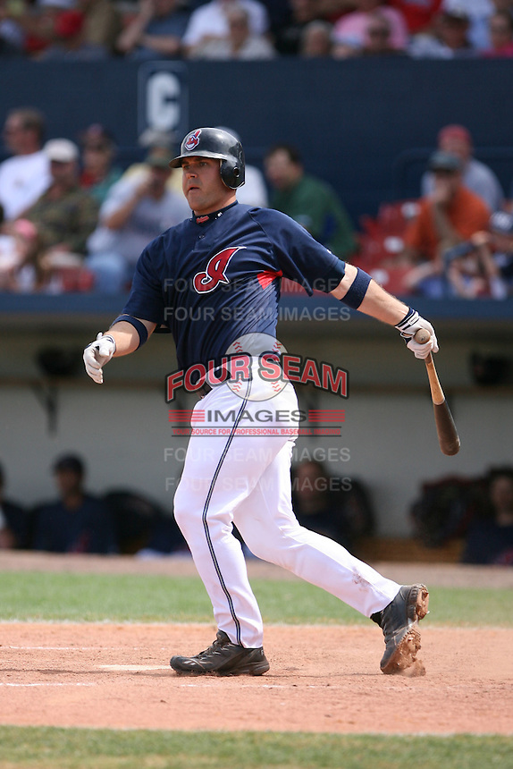 March 20th 2008:  Kelly Shoppach of the Cleveland Indians during a Spring Training game at Chain of Lakes Park in Winter Haven, FL.  Photo by:  Mike Janes/Four Seam Images