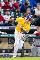 LSU Tigers third baseman Conner Hale (20) makes a catch in foul territory during the Houston College Classic against the Nebraska Cornhuskers on March 8, 2015 at Minute Maid Park in Houston, Texas. LSU defeated Nebraska 4-2. (Andrew Woolley/Four Seam Images)