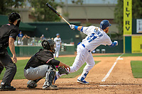 Los Angeles Dodger Justin Turner (31) on rehab assignment playing for the Rancho Cucamonga Quakes follows through on his swing against the Visalia Rawhide at LoanMart Field on May 13, 2018 in Rancho Cucamonga, California. The Quakes defeated the Rawhide 3-2.  (Donn Parris/Four Seam Images)