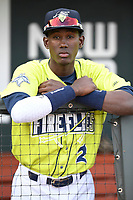 No. 2 MLB.com New York Mets prospect Ronny Mauricio (2) of the Columbia Fireflies in the dugout before his Class A debut on Thursday, April 4, 2019, at Segra Park in Columbia, South Carolina. Charleston won, 2-1. (Tom Priddy/Four Seam Images)