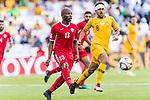 Khalil Baniateyah of Jordan (L) in action during the AFC Asian Cup UAE 2019 Group B match between Australia (AUS) and Jordan (JOR) at Hazza Bin Zayed Stadium on 06 January 2019 in Al Ain, United Arab Emirates. Photo by Marcio Rodrigo Machado / Power Sport Images