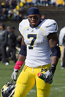 Michigan linebacker Brandin Hawthorne. The Michigan Wolverines defeated the Purdue Boilermakers 44-13 on October 6, 2012 at Ross-Ade Stadium in West Lafayette, Indiana.