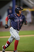 Salem Red Sox catcher Jhon Nunez (2) runs to first base during the second game of a doubleheader against the Potomac Nationals on May 13, 2017 at G. Richard Pfitzner Stadium in Woodbridge, Virginia.  Potomac defeated Salem 3-2.  (Mike Janes/Four Seam Images)