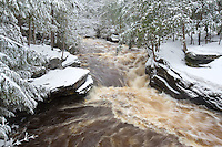 Winter, heavy, wet, snow, Sturgeon River, Upper Peninsula