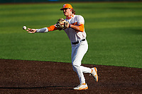 Tennessee Volunteers infielder Cortland Lawson (13) warms up before the game against the LSU Tigers on Robert M. Lindsay Field at Lindsey Nelson Stadium on March 26, 2021, in Knoxville, Tennessee. (Danny Parker/Four Seam Images)