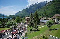 peloton leaving the start town of Molveno (and leaving the Dolomites today)<br /> <br /> stage 17: Molveno-Cassano d'Adda 196km<br /> 99th Giro d'Italia 2016