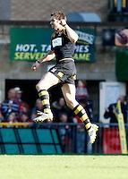 Photo: Richard Lane/Richard Lane Photography. London Wasps v Gloucester Rugby. Aviva Premiership. 01/04/2012. Wasps' Nick Robinson celebrates victory over his old club.