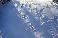 A skier tracks through fresh powder at Showdown Ski Area on King's Hill in the Little Belt Mountains near Neihart, Montana, USA.