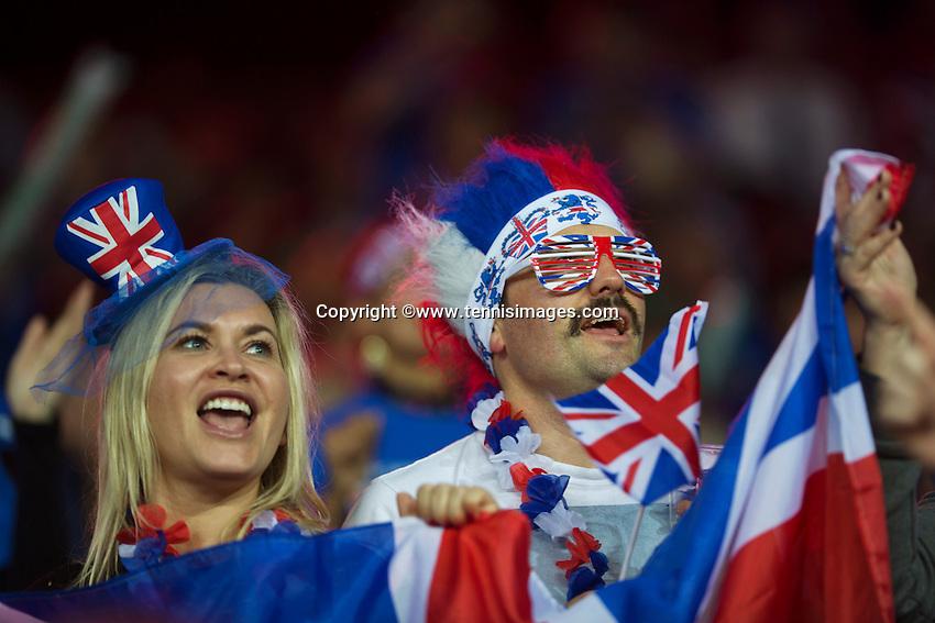 Gent, Belgium, November 27, 2015, Davis Cup Final, Belgium-Great Britain, First match, British Fans<br /> © Henk Koster/Alamy Live News