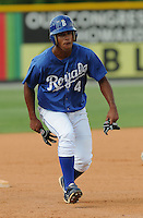 July 22, 2009: Outfielder Derek Rodriguez (4) of the Burlington Royals, rookie Appalachian League affiliate of the Kansas City Royals, in a game at Burlington Athletic Stadium in Burlington, N.C. Photo by: Tom Priddy/Four Seam Images