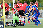 GER - Mannheim, Germany, October 09: During the men hockey match between Mannheimer HC (blue) and TSV Mannheim (red) on October 9, 2016 at Mannheimer HC in Mannheim, Germany. Final score 4-3 (HT 1-1). (Photo by Dirk Markgraf / www.265-images.com) *** Local caption ***