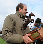 Richard Valentine enjoys his prize after winning the Arthur O. Choate Memorial with Dakota Slew.