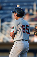 Connecticut Tigers outfielder Ross Kivett (55) at bat during a game against the Batavia Muckdogs on July 21, 2014 at Dwyer Stadium in Batavia, New York.  Connecticut defeated Batavia 12-3.  (Mike Janes/Four Seam Images)