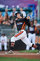 Aberdeen IronBirds designated hitter Willy Yahn (6) follows through on a swing during a game against the Staten Island Yankees on August 23, 2018 at Leidos Field at Ripken Stadium in Aberdeen, Maryland.  Aberdeen defeated Staten Island 6-2.  (Mike Janes/Four Seam Images)