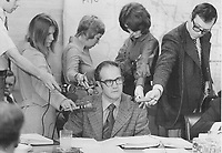 1972 FILE PHOTO -<br /> <br /> Media surround Toronto Transit Commission<br />  Gordon Hurlburt