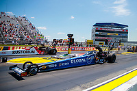 Jul 11, 2020; Clermont, Indiana, USA; NHRA top fuel driver Tony Schumacher (near) alongside T.J. Zizzo during qualifying for the E3 Spark Plugs Nationals at Lucas Oil Raceway. This is the first race back for NHRA since the start of the COVID-19 global pandemic. Mandatory Credit: Mark J. Rebilas-USA TODAY Sports