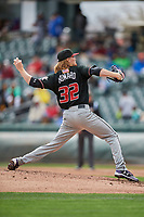 Albuquerque Isotopes starting pitcher Sam Howard (32) delivers a pitch to the plate against the Salt Lake Bees at Smith's Ballpark on April 8, 2018 in Salt Lake City, Utah. Albuquerque defeated Salt Lake 11-4. (Stephen Smith/Four Seam Images)