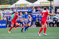 Boston, MA - Saturday July 01, 2017: Tori Huster and Angela Salem during a regular season National Women's Soccer League (NWSL) match between the Boston Breakers and the Washington Spirit at Jordan Field.