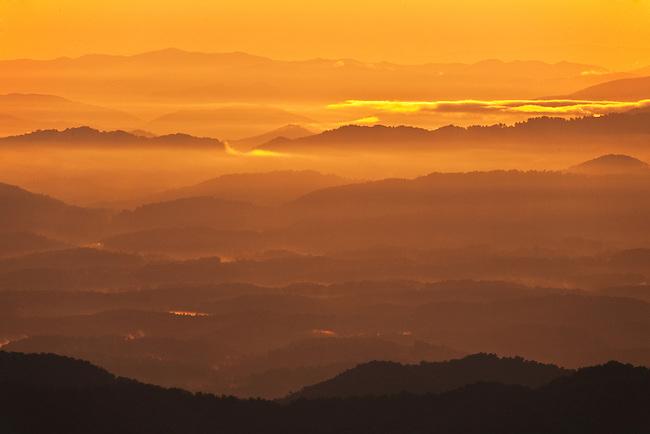 Evening view after storm near Craggy Gardens, Blue Ridge Parkway, North Carolina
